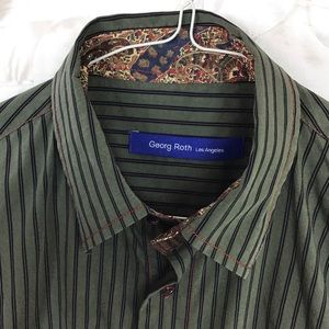 Georg Roth Khaki Green Flip Cuff Shirt Size M